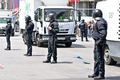 De interventie van de politie, Barcelona, Spanje Stock Afbeeldingen