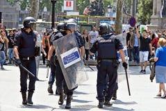 De interventie van de politie, Barcelona, Spanje Stock Foto's