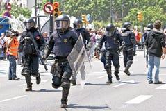 De interventie van de politie, Barcelona, Spanje Stock Afbeelding