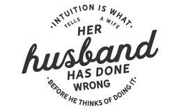 De intuïtie is wat een vrouw vertelt haar echtgenoot verkeerd heeft gedaan alvorens hij aan het doen van het denkt vector illustratie