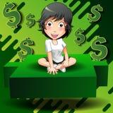 De investeerder zit op groene kandelaar royalty-vrije illustratie