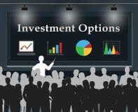 De investeringsopties betekent 3d Illustratie van Besparingenkeuzen stock illustratie