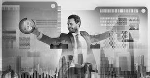 De investeringsstrategie van de Bitcoinmunt Word begonnen met bitcoin Bereken bitcoin mijnbouwrentabiliteit Zakenman royalty-vrije stock afbeeldingen