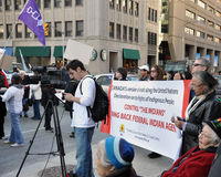 De inwoners protesteren TGV in Ottawa Royalty-vrije Stock Afbeelding