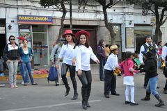 De inwoners van de stad tijdens Carnaval ter ere van Virgin van Guadalupe Royalty-vrije Stock Fotografie