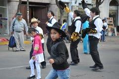 De inwoners van de stad tijdens Carnaval ter ere van Virgin van Guadalupe Royalty-vrije Stock Afbeelding