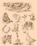 De inzameling-met de hand gemaakte tekening van het landbouwbedrijf royalty-vrije illustratie