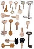 De inzameling van 19 sleutels isoleerde wit royalty-vrije stock afbeelding