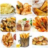De Inzameling van aardappelschotels stock foto