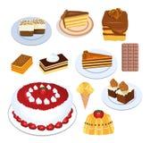De inzameling van cakes Stock Foto