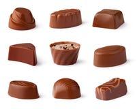 De inzameling van chocoladesnoepjes stock foto's