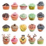 De inzameling van Cupcakes tegen witte achtergrond Stock Afbeelding