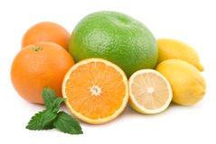 De inzameling van de citrusvrucht. Geïsoleerdt royalty-vrije stock foto's