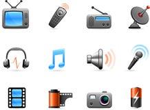 De inzameling van de elektronika en van het pictogram van Media Royalty-vrije Stock Afbeeldingen