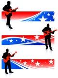 De inzameling van de gitarist op patriottische Internet banners Stock Foto's
