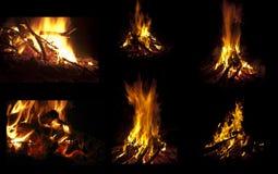 De inzameling van de kampbrand. Stock Afbeelding