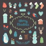 De inzameling van de Kerstmisdecoratie Stock Foto