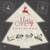 De inzameling van de Kerstmisdecoratie voor prentbriefkaaren en ander Kerstmisontwerp. Stock Foto's