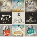 De inzameling van de Kerstmisdecoratie voor prentbriefkaaren en ander Kerstmisontwerp. Royalty-vrije Stock Afbeelding