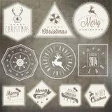 De inzameling van de Kerstmisdecoratie voor prentbriefkaaren en ander Kerstmisontwerp. Stock Afbeeldingen