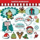 De inzameling van de Kerstmisvakantie van de Santa'sworkshop Royalty-vrije Stock Afbeelding