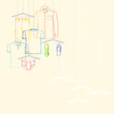 De inzameling van de kledingstukkenzomer Stock Foto's