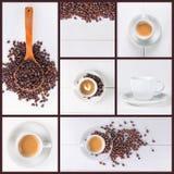 De inzameling van de koffiecollage stock afbeeldingen