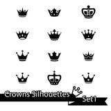 De inzameling van de kroon - vectorsilhouet Stock Foto's