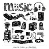 De inzameling van de muziekkrabbel, hand getrokken illustratie Stock Foto