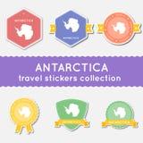 De inzameling van de reisstickers van Antarctica Stock Afbeelding