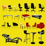 De inzameling van de stoel en van de lijst - vector Stock Afbeelding