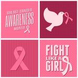 De Inzameling van de Voorlichtingskaarten van borstkanker Stock Afbeeldingen