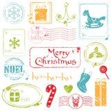 De Inzameling van de Zegels van Grunge van Kerstmis Stock Afbeelding