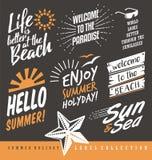 De Inzameling van de zomeretiketten Stock Foto's