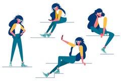 De inzameling van divers meisje stelt vector illustratie