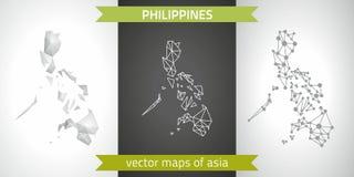 De inzameling van Filippijnen van vectorontwerp moderne kaarten, grijze en zwarte en zilveren het mozaïek 3d kaart van de puntcon stock illustratie