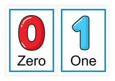 De inzameling van de flitskaart voor aantallen en hun namen voor kleuterschool/kleuterschooljonge geitjes | leer aantallen vector illustratie