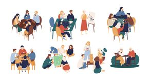 De inzameling van grappige glimlachende mensen die bij lijst en spelend scheept of tafelbladspelen zitten in De activiteit van de royalty-vrije illustratie