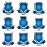 De inzameling van grijze heraldische 3d betoverende pictogrammen, verzilvert grafisch o Royalty-vrije Stock Foto's