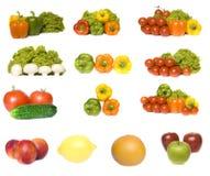 De inzameling van groenten en vruchten Royalty-vrije Stock Afbeeldingen