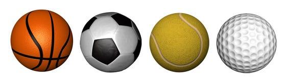 De inzameling van het basketbal, van de voetbal, van het tennis & van het golf Stock Afbeeldingen