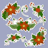 De inzameling van het de bessenpictogram van de Kerstmishulst Vector royalty-vrije illustratie