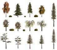 De inzameling van het de bomenaanplakbord van de herfst op wit
