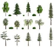 De inzameling van het de bomenaanplakbord van de zomer op wit royalty-vrije stock fotografie