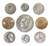 De inzameling van het doorgeven van muntstukken van de V.S. verandert muntstukken van Amerika Stock Afbeeldingen