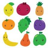 De inzameling van het fruit en van de bes Vectorbeeldverhaal glimlachende karakters C Stock Afbeeldingen