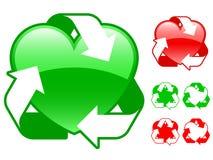 De inzameling van het het hartpictogram van het recycling Royalty-vrije Stock Afbeeldingen
