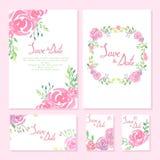 De inzameling van het huwelijksontwerp De kaarten van de uitnodiging Royalty-vrije Stock Afbeeldingen