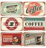 De inzameling van het metaaltekens van de koffiewinkel Stock Afbeelding