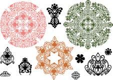 De inzameling van het ornamentelementen van de kleur Stock Afbeeldingen
